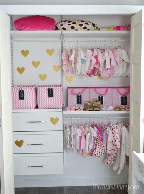 an organized baby closet with closetmaid shelftrack elite