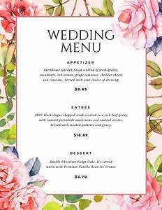 Wedding Menu Printable Wedding Menu Template Sample