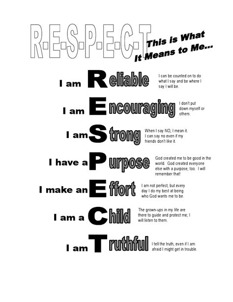 free coloring pages of respect worksheets