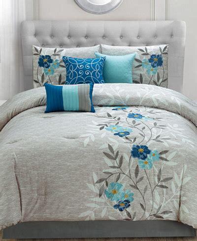 krissa embroidered  piece queen comforter set bed