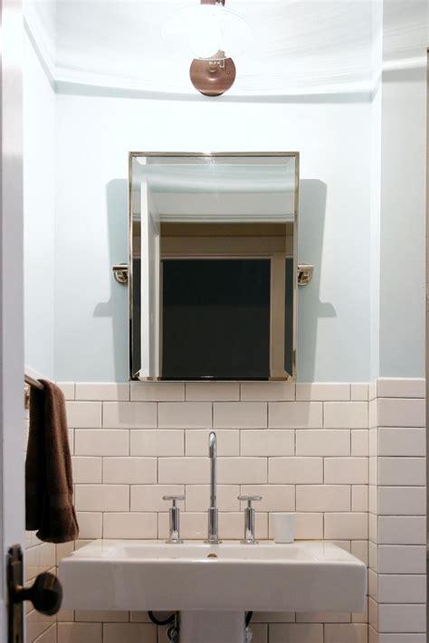 light blue bathroom features subway tile wainscoting hgtv