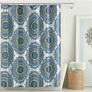 anthology bungalow shower curtain in teal bed bath beyond