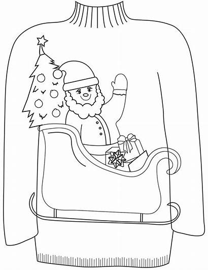 Ugly Sweater Coloring Christmas Pages Santa Printable