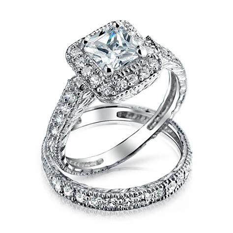 wedding ring silver 925 silver princess cut cz engagement wedding ring set