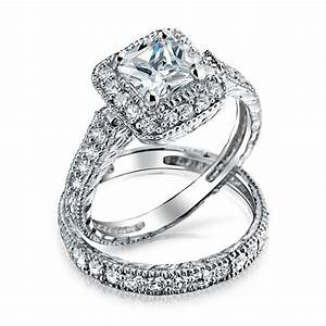 925 silver princess cut cz engagement wedding ring set With silver wedding sets rings