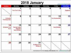 January 2018 Calendar With Holidays 2018 yearly calendar