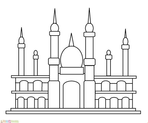 gambar masjid untuk lomba mewarnai anak tk