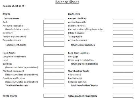 monthly balance sheet excel template download free