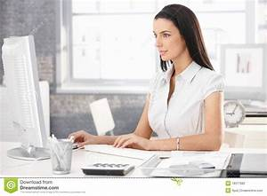 Pretty Office Worker At Desk Stock Photo - Image of alone ...