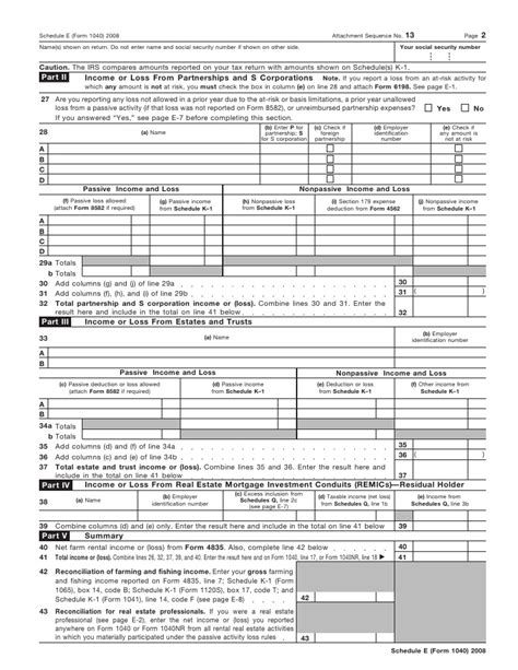Form 1040, Schedule Esupplemental Income And Loss