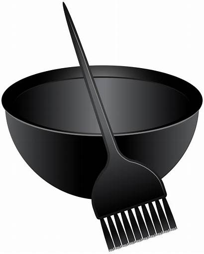 Bowl Brush Dye Mixing Clip Clipart Coloring