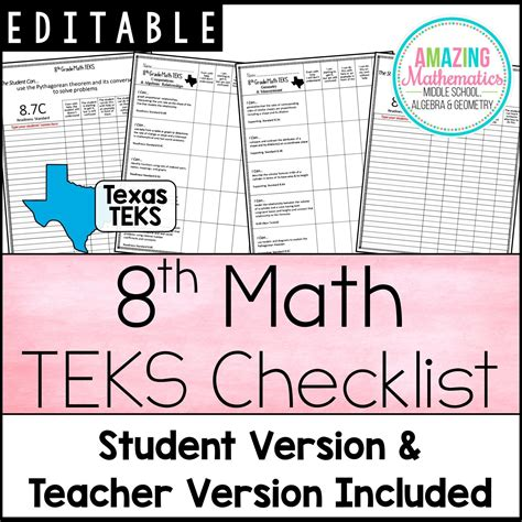 These 8th Grade Math Texas TEKS Checklists were a ...