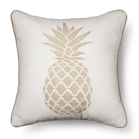 Gold Pineapple Throw Pillow  Multicolored  Th Target