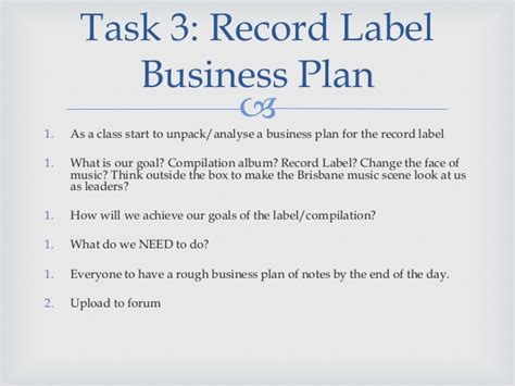 Music Business Plan. Independent Record Label Business
