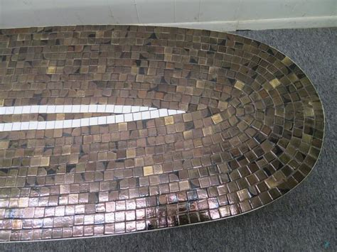 classic mid century tile mosaic top oval coffee table for