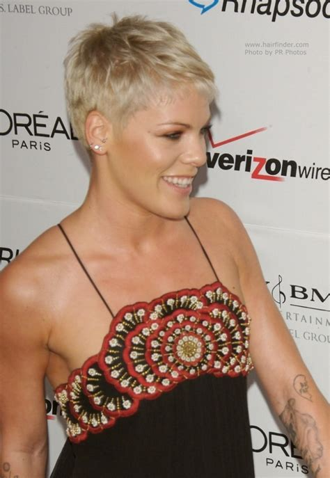 Pink   Boyish short hairstyle with the ears and neck exposed