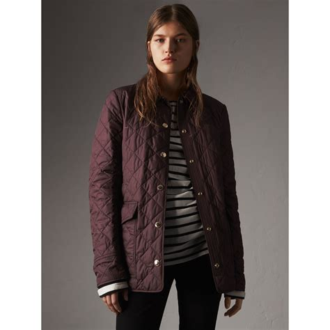 burberry quilted jacket check detail quilted jacket in burgundy