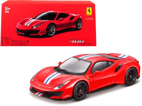 """This diecast model from burago provides exterior displays showing all of the slick curves and sweeping lines of the original, whereas the interior shows the same high attention to detail, featuring carefully crafted replica upholstery. Ferrari 488 Pista Red with White and Blue Stripes """"Ferrari Signature Series"""" 1/43 Diecast Model ..."""