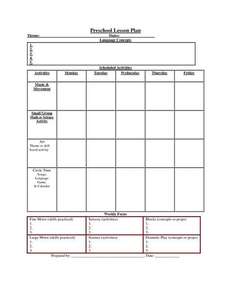 preschool activities lesson plan preschool lesson plan template peerpex 486