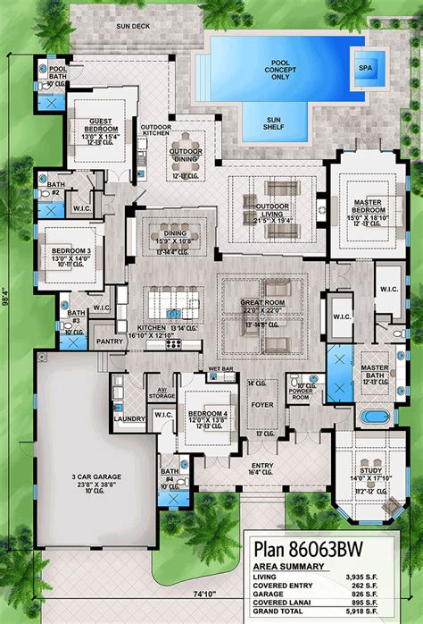 outdoor living floor plans plan 86063bw southern house plan with indoor outdoor