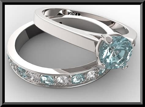 aquamarine wedding ring set vidar jewelry unique