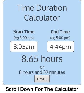 calculate duration times easy
