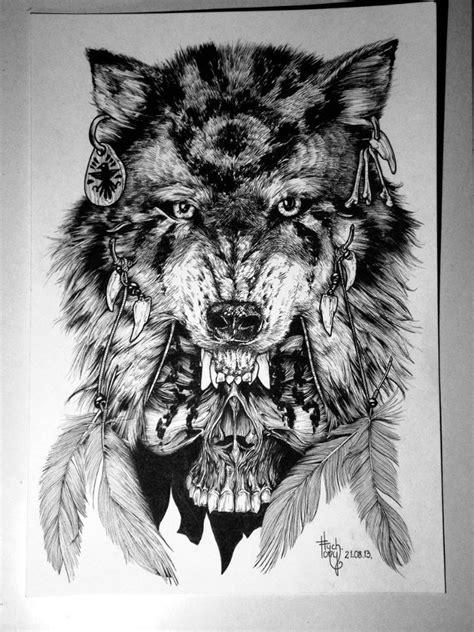 native black  white wolf  skull tattoo design tattooimagesbiz