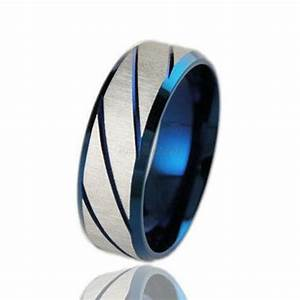 men39s wedding band titanium brushed band ring stainless With mens blue wedding rings