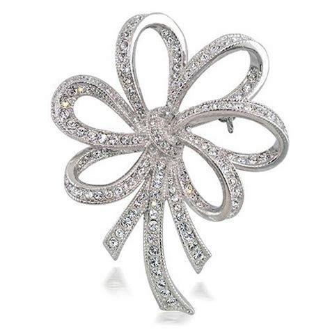 bridal cz bow ribbon wedding brooch pin