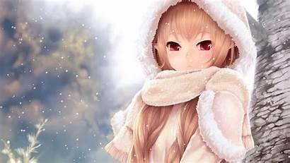 Blonde Hair Anime Eyes Animated Winter Desktop