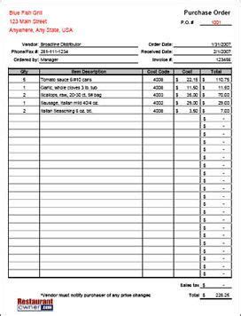 purchase order form templates   order form
