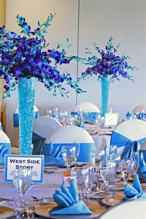 Our Purple And Turquoise Floral Centerpieces And Turquoise