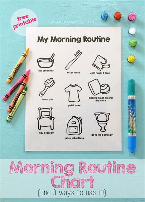 printable morning routine chart morning routine chart