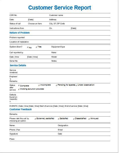 customer service report template  ms word word