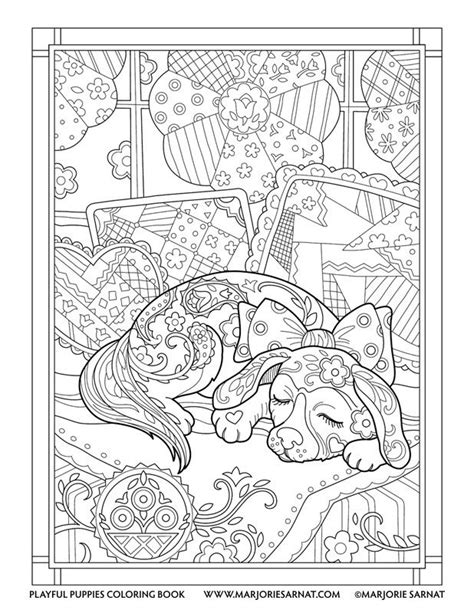 quilt snooze playful puppies coloring book by marjorie