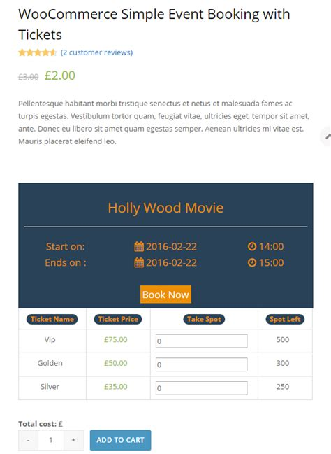 Change Template Page Simple Product Woocommerce by Woocommerce Simple Event Booking With Tickets