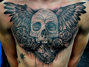 Black grey winged skull with roses and clock chest tattoo ...