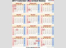 2017 Calendar With Holidays weekly calendar template