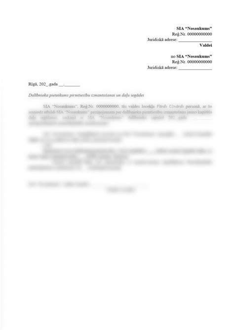 Dalībnieka pieteikums pirmtiesību izmantošanai un daļu ...