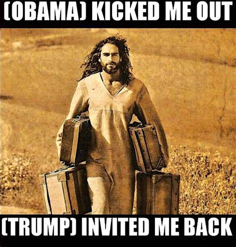 trump jesus meme obama hell than better holy retweets likes raise critics him president followers