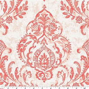 Coral Painted Damask Fabric by the Yard | Coral Fabric ...