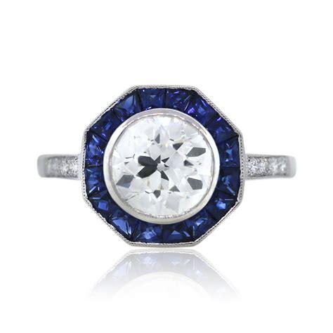 platinum octagonal art deco diamond  sapphire