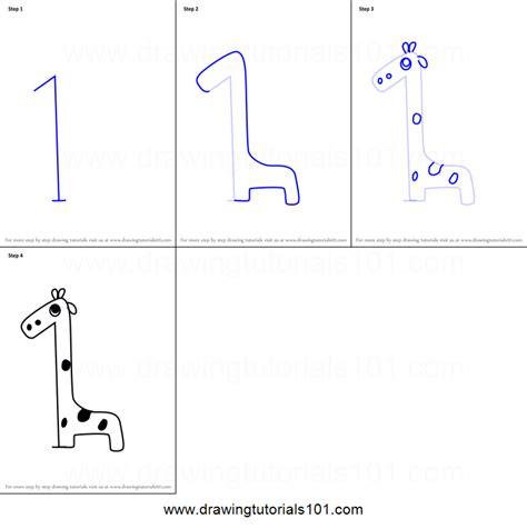 draw  giraffe  number  printable step
