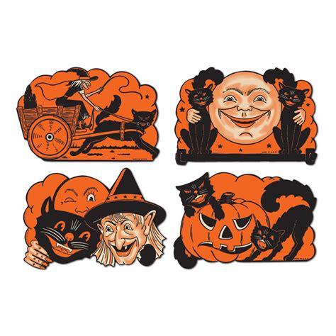 4 Retro Halloween Decorations Die Cut Cutouts Vintage