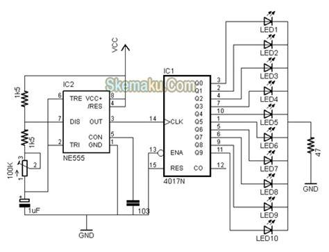 rangkaian lu led berjalan running led dengan ic4017