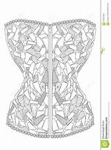 Corset Coloring Adults Diamonds Illustration Therapy Vector Line Royalty Pattern sketch template
