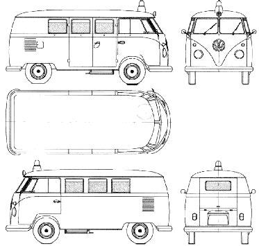 Silhouette Deck Plan Printable by Volkswagen Microbus 1960 1963 Model Sheet Blue Print