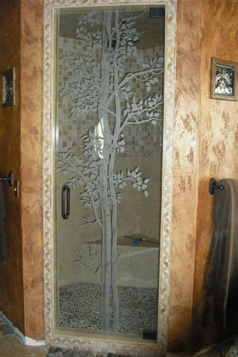 etched shower door