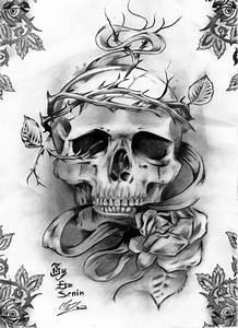 Dessin Tete De Mort Avec Rose : tatouage rose tete de mort gothique t te de mort tatouage tatouage gothique et dessin tete ~ Melissatoandfro.com Idées de Décoration