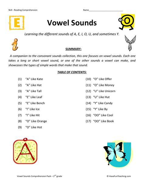 reading comprehension worksheet vowel sounds collection